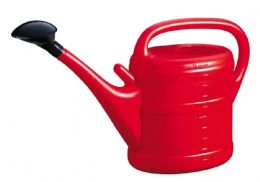 10 Litre Sturdy Eco Friendly Large Red Plastic Watering Can with Rose FREE P&P